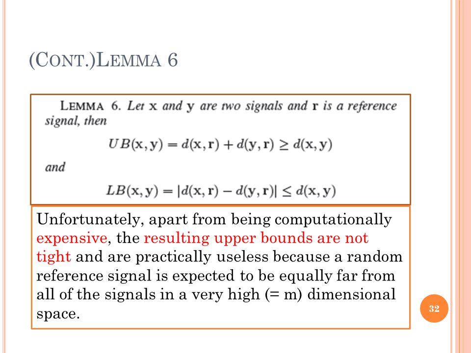 (C ONT.)L EMMA 6 32 Unfortunately, apart from being computationally expensive, the resulting upper bounds are not tight and are practically useless be