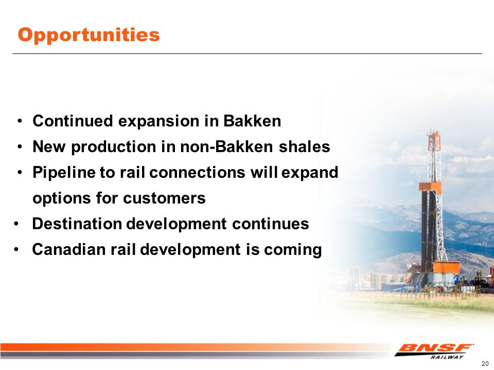 Opportunities Continued expansion in Bakken New production in non-Bakken shales Pipeline to rail connections will expand options for customers Destination development continues Canadian rail development is coming 20