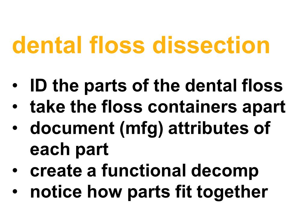 dental floss dissection ID the parts of the dental floss take the floss containers apart document (mfg) attributes of each part create a functional decomp notice how parts fit together