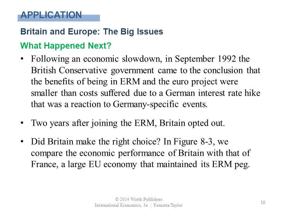 APPLICATION Britain and Europe: The Big Issues What Happened Next? Following an economic slowdown, in September 1992 the British Conservative governme