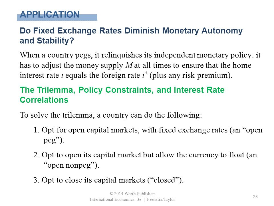 APPLICATION Do Fixed Exchange Rates Diminish Monetary Autonomy and Stability? When a country pegs, it relinquishes its independent monetary policy: it