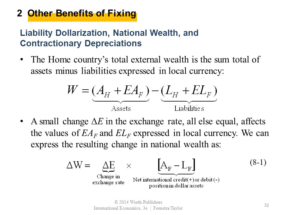 2 Other Benefits of Fixing Liability Dollarization, National Wealth, and Contractionary Depreciations The Home country's total external wealth is the