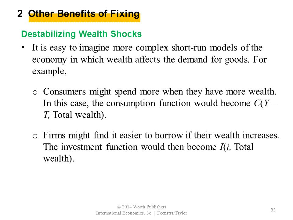 2 Other Benefits of Fixing Destabilizing Wealth Shocks It is easy to imagine more complex short-run models of the economy in which wealth affects the