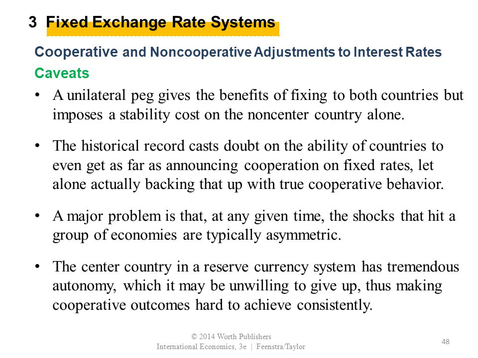 3 Fixed Exchange Rate Systems Cooperative and Noncooperative Adjustments to Interest Rates Caveats A unilateral peg gives the benefits of fixing to bo