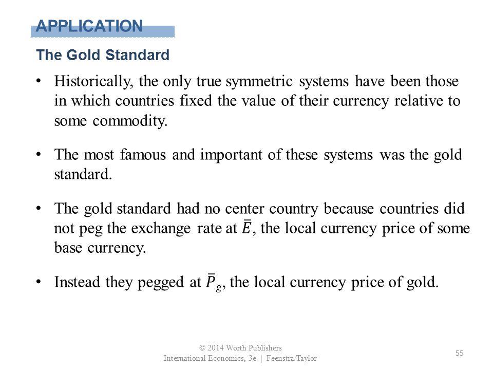 APPLICATION The Gold Standard © 2014 Worth Publishers International Economics, 3e | Feenstra/Taylor 55