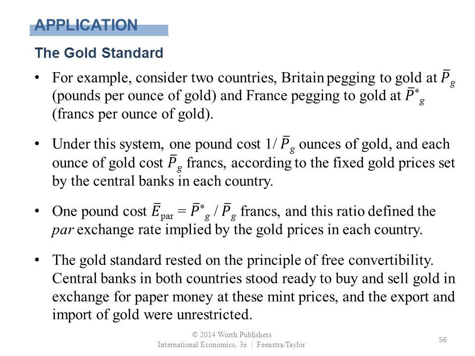 APPLICATION The Gold Standard © 2014 Worth Publishers International Economics, 3e | Feenstra/Taylor 56