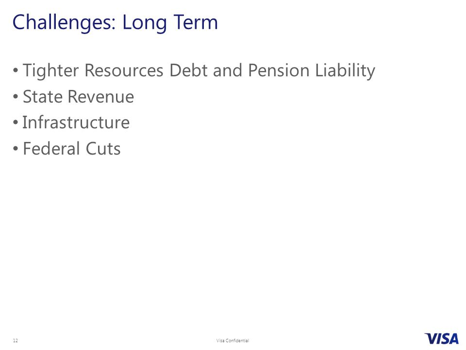 Visa Confidential 12 Tighter Resources Debt and Pension Liability State Revenue Infrastructure Federal Cuts Challenges: Long Term