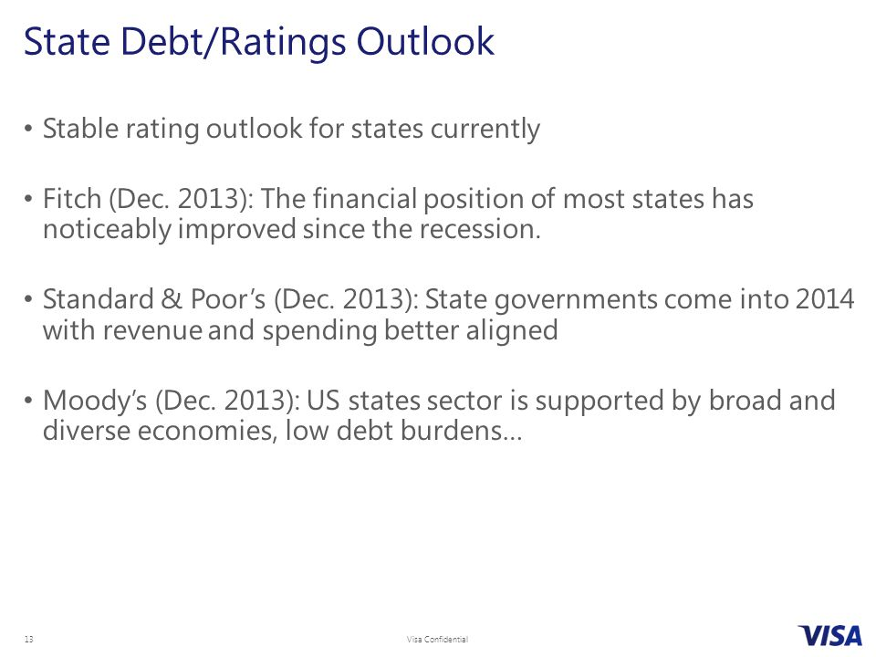 Visa Confidential 13 Stable rating outlook for states currently Fitch (Dec.
