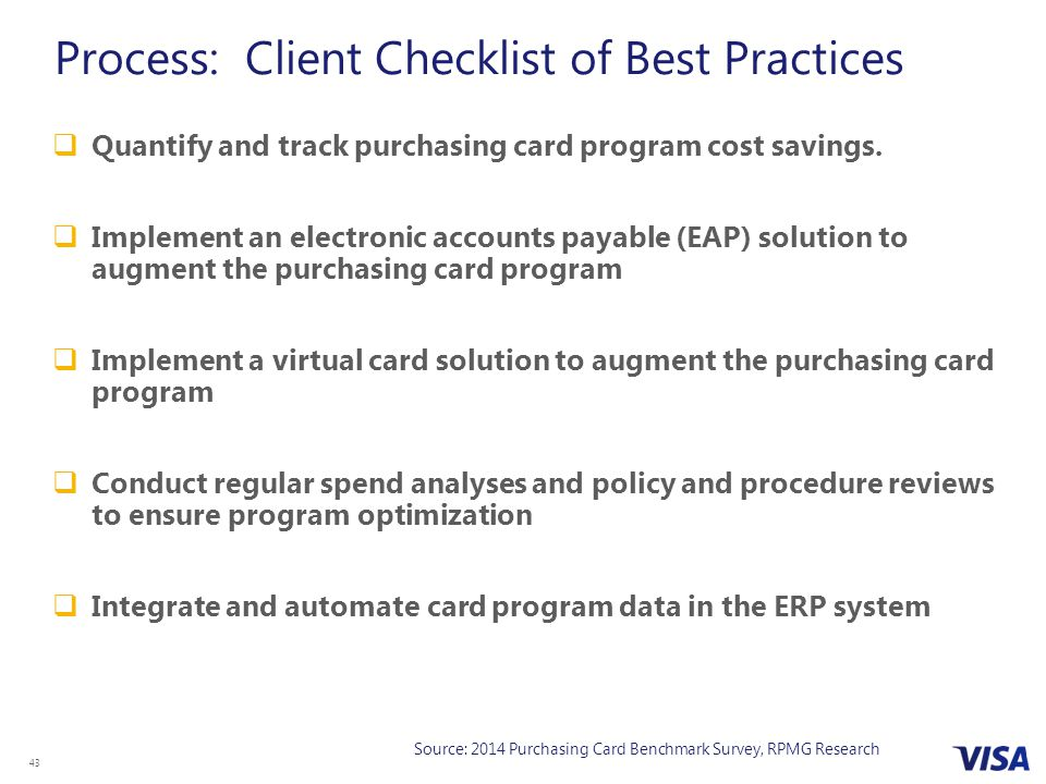 43  Quantify and track purchasing card program cost savings.