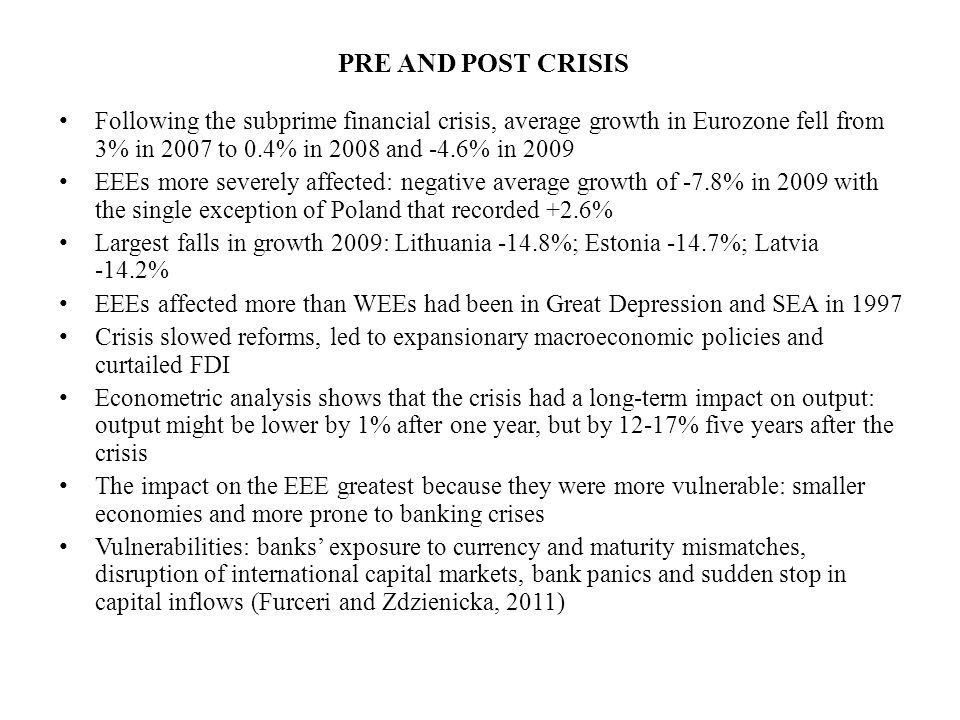 PRE AND POST CRISIS Following the subprime financial crisis, average growth in Eurozone fell from 3% in 2007 to 0.4% in 2008 and -4.6% in 2009 EEEs more severely affected: negative average growth of -7.8% in 2009 with the single exception of Poland that recorded +2.6% Largest falls in growth 2009: Lithuania -14.8%; Estonia -14.7%; Latvia -14.2% EEEs affected more than WEEs had been in Great Depression and SEA in 1997 Crisis slowed reforms, led to expansionary macroeconomic policies and curtailed FDI Econometric analysis shows that the crisis had a long-term impact on output: output might be lower by 1% after one year, but by 12-17% five years after the crisis The impact on the EEE greatest because they were more vulnerable: smaller economies and more prone to banking crises Vulnerabilities: banks' exposure to currency and maturity mismatches, disruption of international capital markets, bank panics and sudden stop in capital inflows (Furceri and Zdzienicka, 2011)
