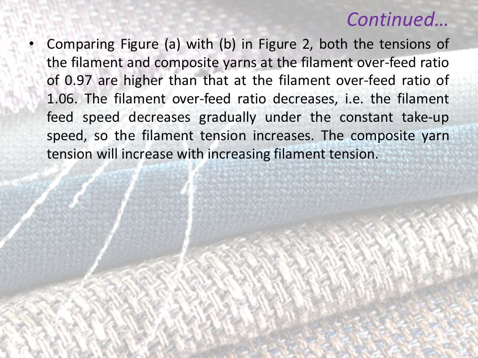 Comparing Figure (a) with (b) in Figure 2, both the tensions of the filament and composite yarns at the filament over-feed ratio of 0.97 are higher th