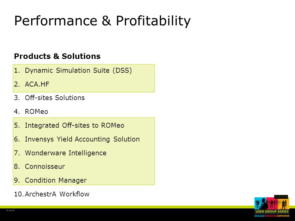 Slide 23 Performance & Profitability Products & Solutions 1.Dynamic Simulation Suite (DSS) 2.ACA.HF 3.Off-sites Solutions 4.ROMeo 5.Integrated Off-sites to ROMeo 6.Invensys Yield Accounting Solution 7.Wonderware Intelligence 8.Connoisseur 9.Condition Manager 10.ArchestrA Workflow