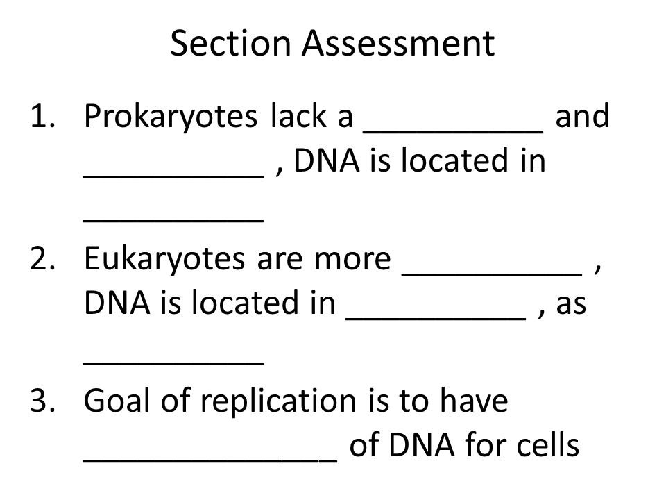 Section Assessment 1.Prokaryotes lack a __________ and __________, DNA is located in __________ 2.Eukaryotes are more __________, DNA is located in __________, as __________ 3.Goal of replication is to have ______________ of DNA for cells