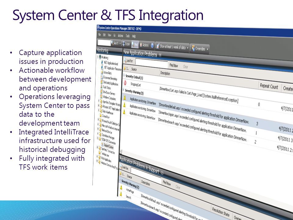 System Center & TFS Integration Capture application issues in production Actionable workflow between development and operations Operations leveraging