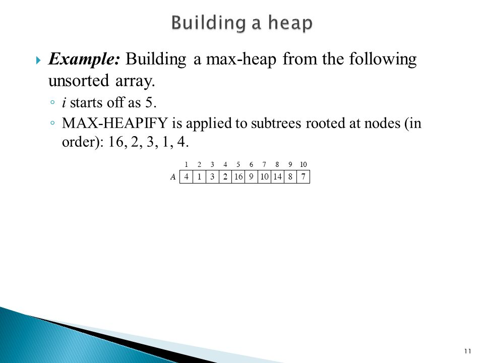  Example: Building a max-heap from the following unsorted array.