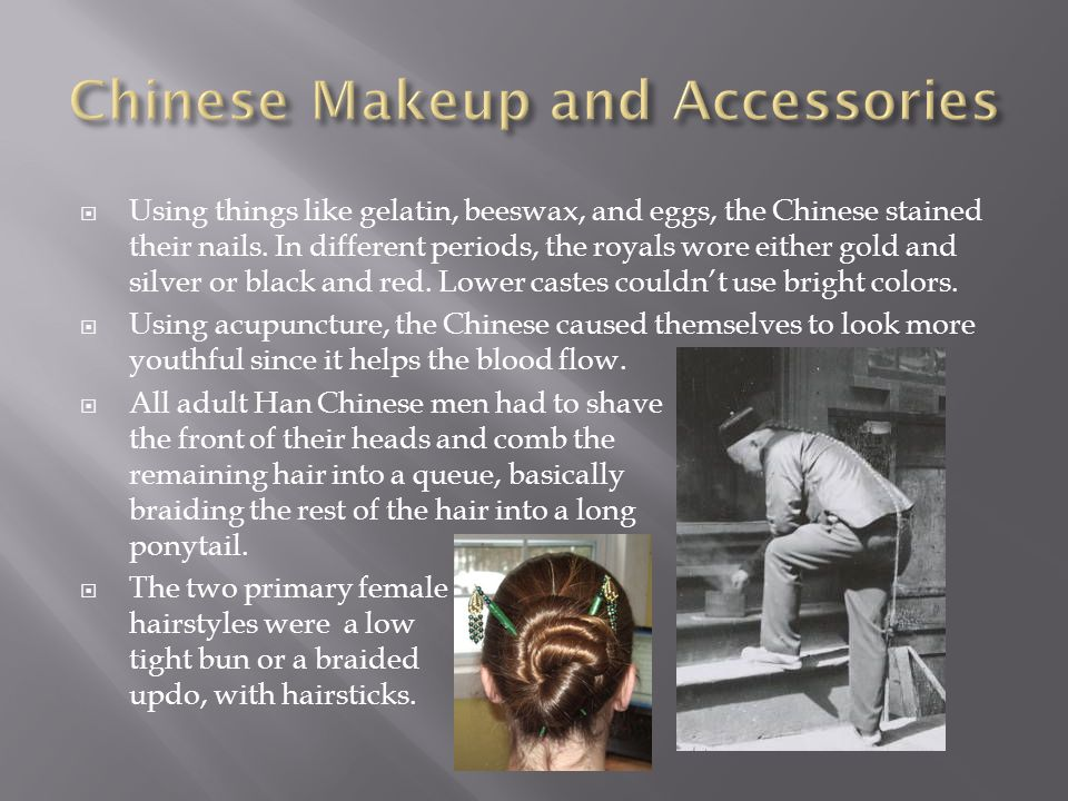  Using things like gelatin, beeswax, and eggs, the Chinese stained their nails.
