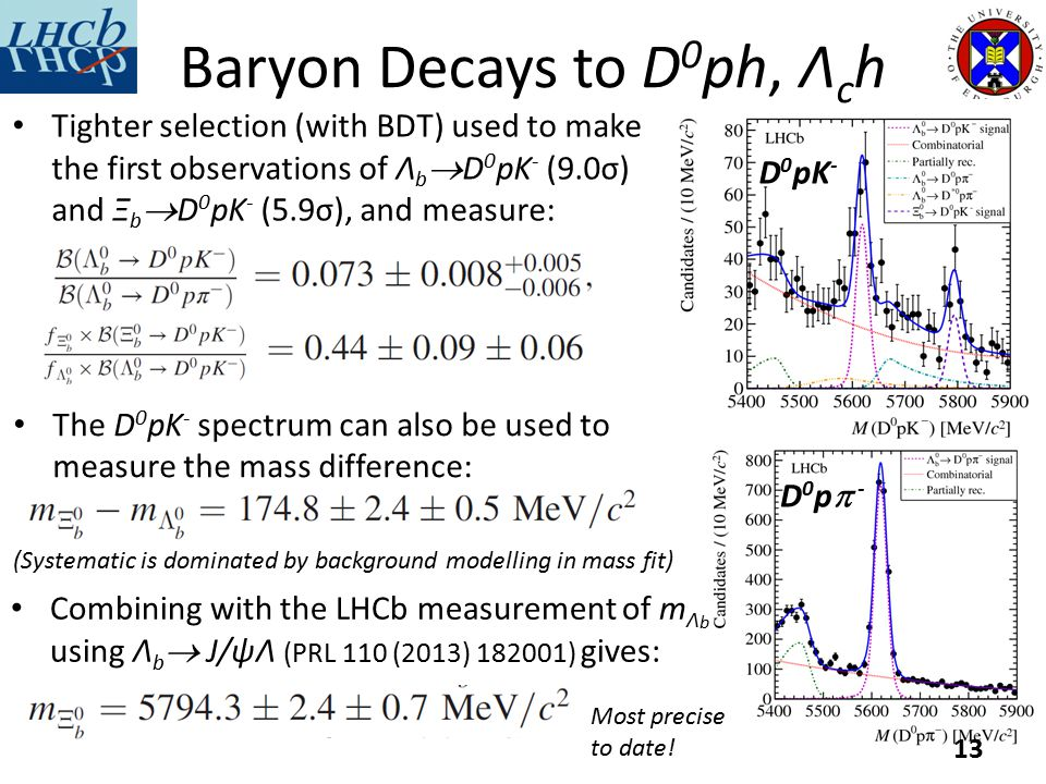 Baryon Decays to D 0 ph, Λ c h Tighter selection (with BDT) used to make the first observations of Λ b  D 0 pK - (9.0σ) and Ξ b  D 0 pK - (5.9σ), and measure: 13 D0p- D0p- D 0 pK - The D 0 pK - spectrum can also be used to measure the mass difference: Combining with the LHCb measurement of m Λ b using Λ b  J/ψΛ (PRL 110 (2013) 182001) gives: (Systematic is dominated by background modelling in mass fit) Most precise to date!