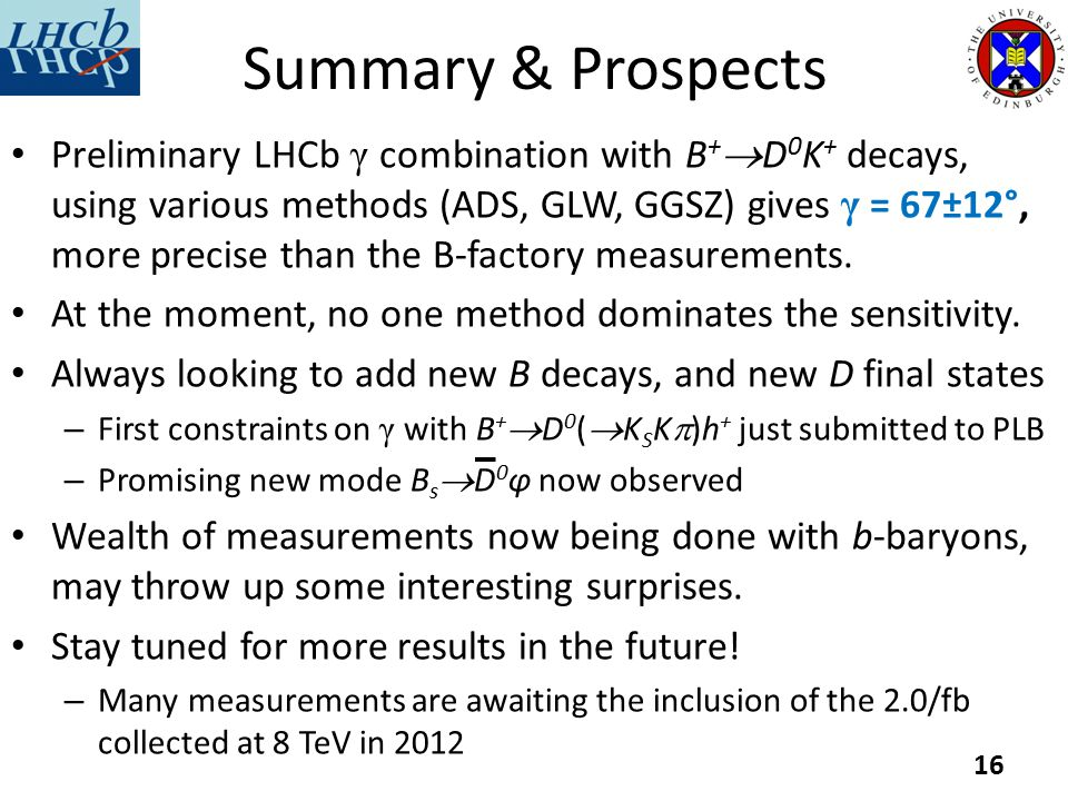 Preliminary LHCb γ combination with B +  D 0 K + decays, using various methods (ADS, GLW, GGSZ) gives γ = 67±12°, more precise than the B-factory measurements.