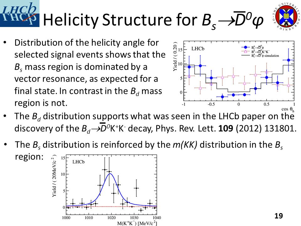 Helicity Structure for B s  D 0 φ Distribution of the helicity angle for selected signal events shows that the B s mass region is dominated by a vector resonance, as expected for a final state.