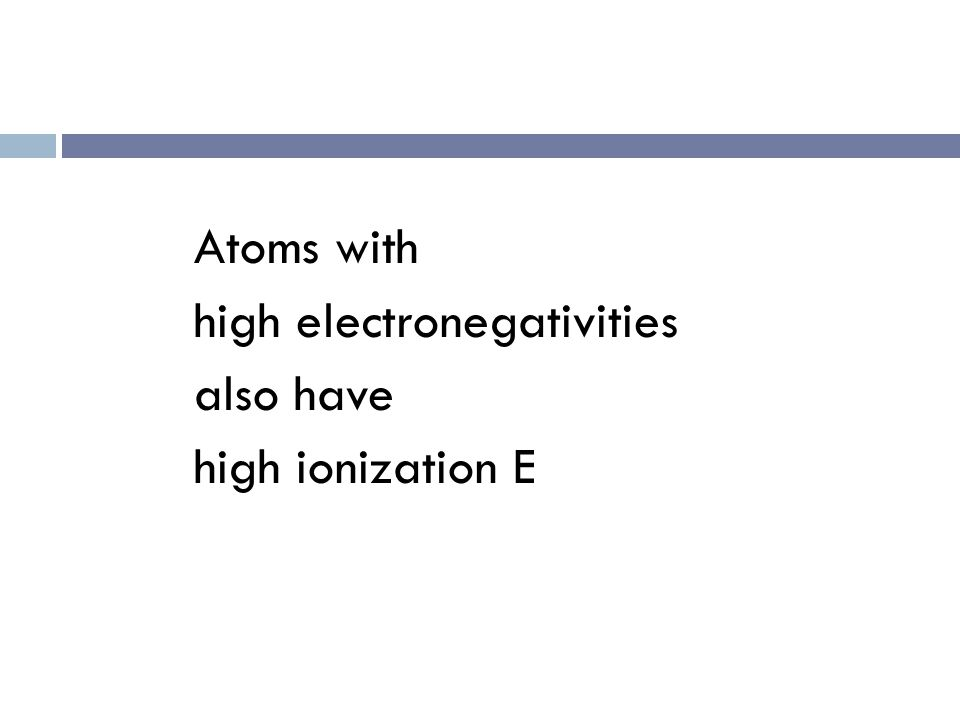 Electronegativity  Determine the periodic trend INCREASES EXCEPT for Noble gases. WHY? F