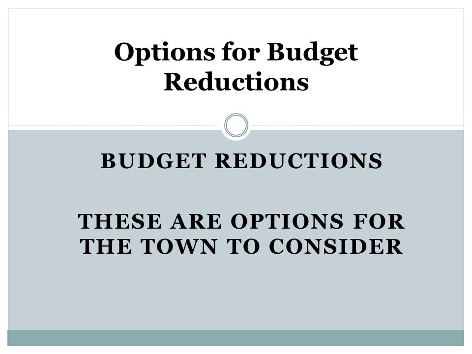BUDGET REDUCTIONS THESE ARE OPTIONS FOR THE TOWN TO CONSIDER Options for Budget Reductions