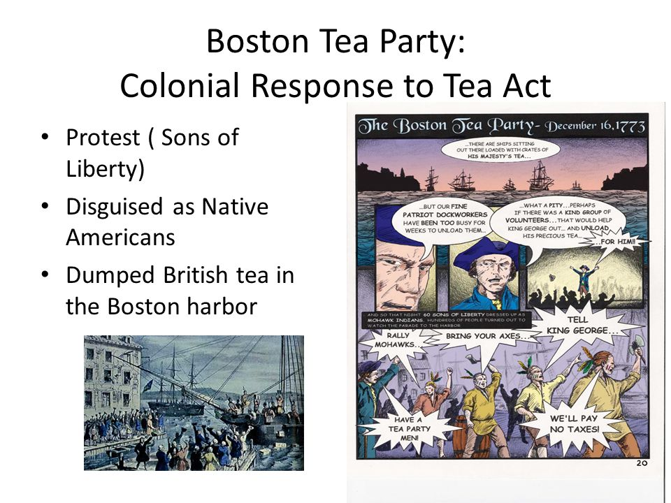 Boston Tea Party: Colonial Response to Tea Act Protest ( Sons of Liberty) Disguised as Native Americans Dumped British tea in the Boston harbor