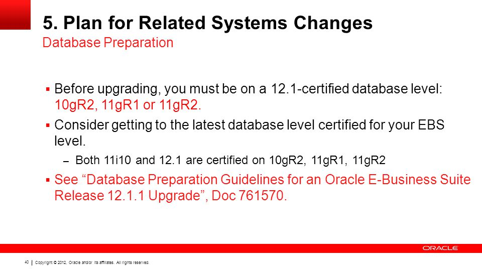 Copyright © 2012, Oracle and/or its affiliates. All rights reserved. 40 5. Plan for Related Systems Changes  Before upgrading, you must be on a 12.1-