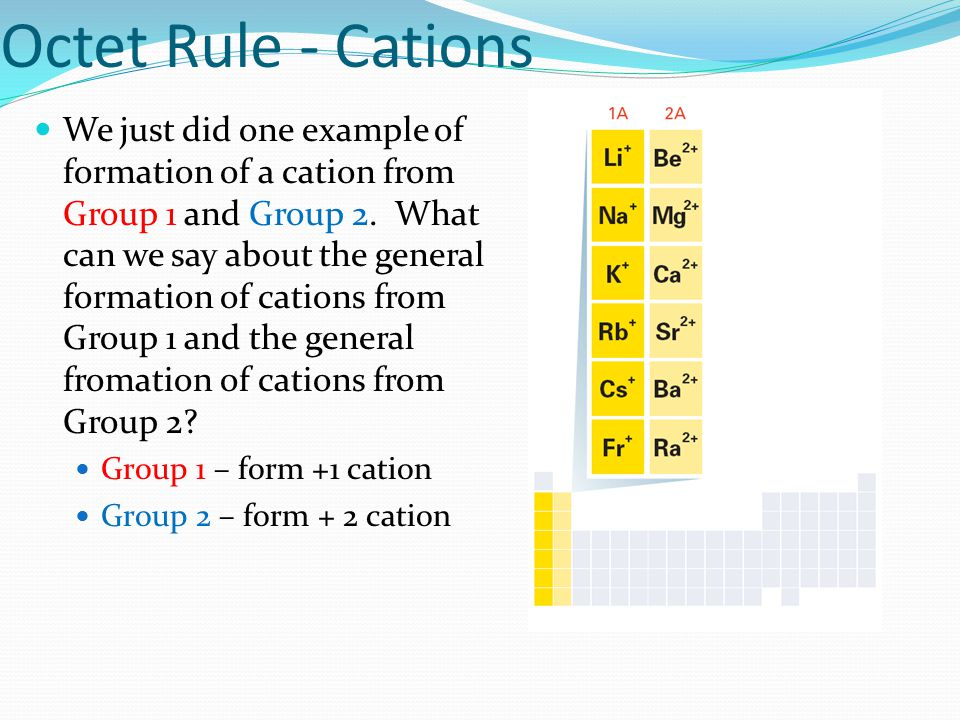 Octet Rule - Cations We just did one example of formation of a cation from Group 1 and Group 2. What can we say about the general formation of cations