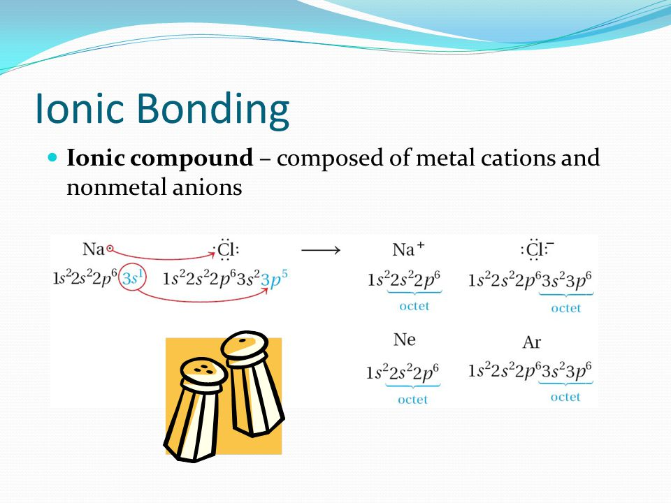 Ionic Bonding Ionic compound – composed of metal cations and nonmetal anions