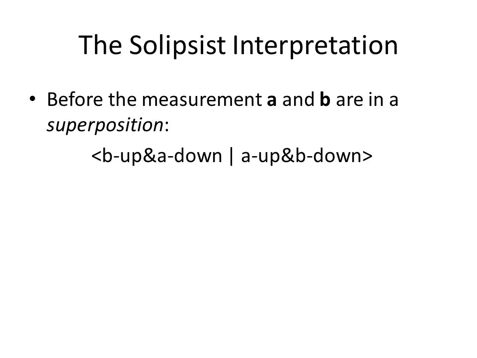 The Solipsist Interpretation Before the measurement a and b are in a superposition: