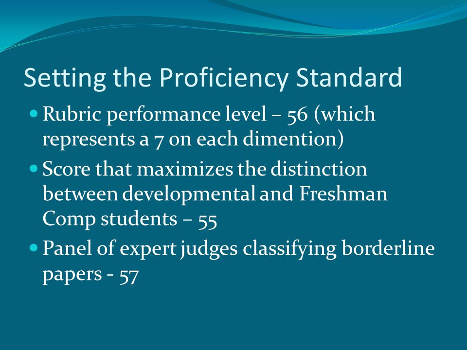 Setting the Proficiency Standard Rubric performance level – 56 (which represents a 7 on each dimention) Score that maximizes the distinction between developmental and Freshman Comp students – 55 Panel of expert judges classifying borderline papers - 57