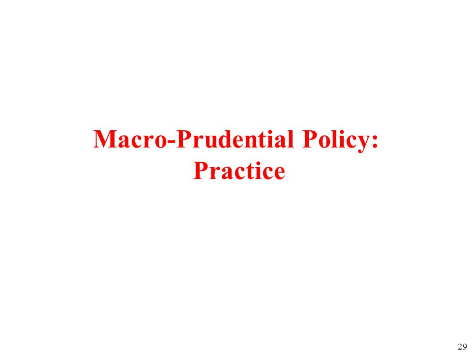 29 Macro-Prudential Policy: Practice