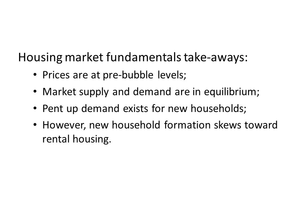 Housing market fundamentals take-aways: Prices are at pre-bubble levels; Market supply and demand are in equilibrium; Pent up demand exists for new households; However, new household formation skews toward rental housing.