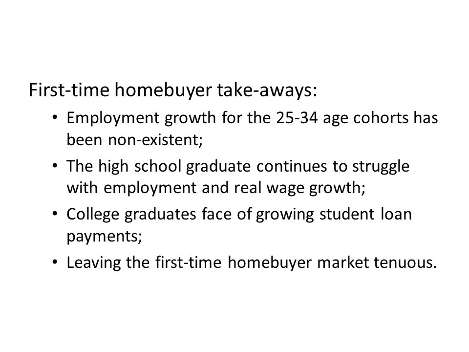 First-time homebuyer take-aways: Employment growth for the 25-34 age cohorts has been non-existent; The high school graduate continues to struggle with employment and real wage growth; College graduates face of growing student loan payments; Leaving the first-time homebuyer market tenuous.