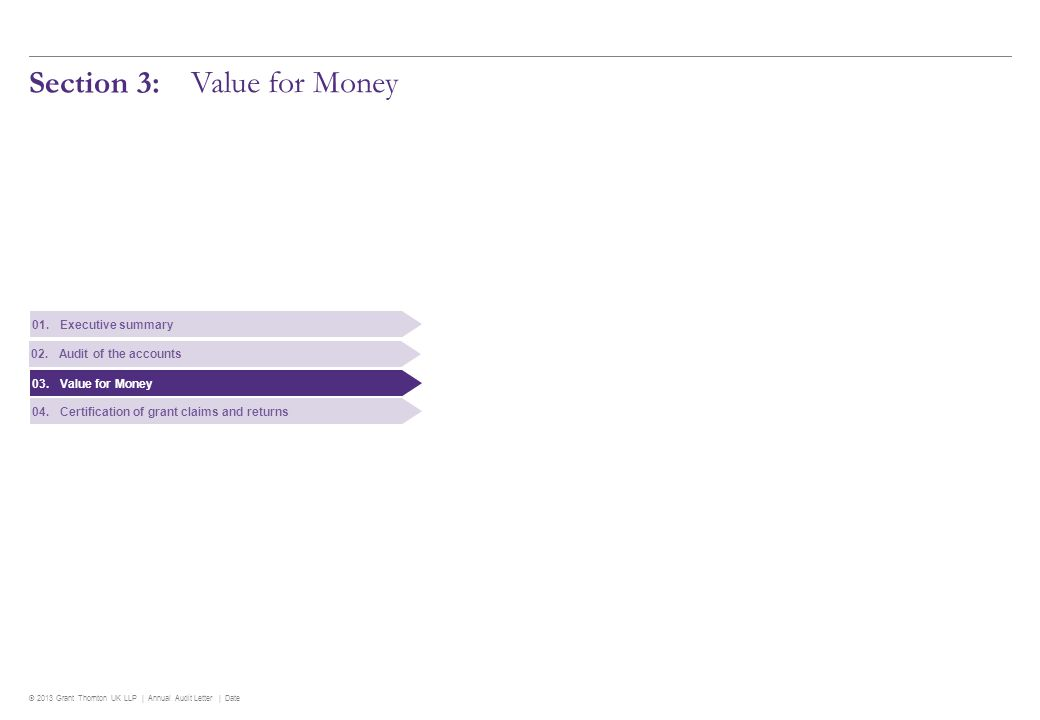 © 2013 Grant Thornton UK LLP | Annual Audit Letter | Date Section 3: Value for Money 01.Executive summary 02.Audit of the accounts 03.Value for Money 04.Certification of grant claims and returns