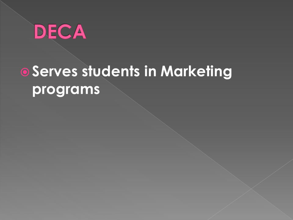  Serves students in Marketing programs