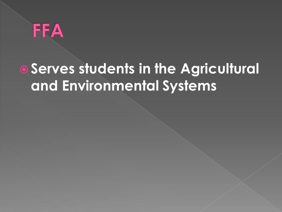 Serves students in the Agricultural and Environmental Systems