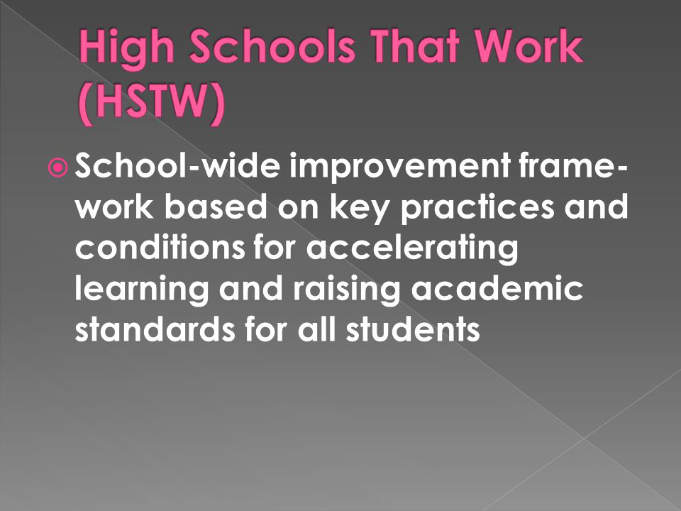  School-wide improvement frame- work based on key practices and conditions for accelerating learning and raising academic standards for all students
