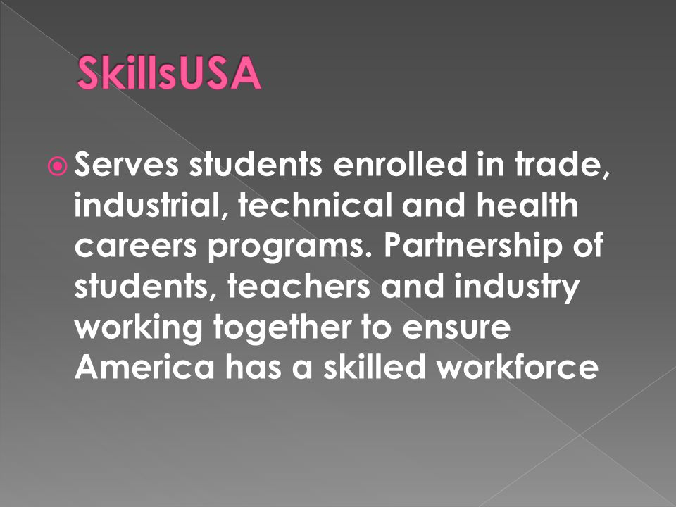  Serves students enrolled in trade, industrial, technical and health careers programs.
