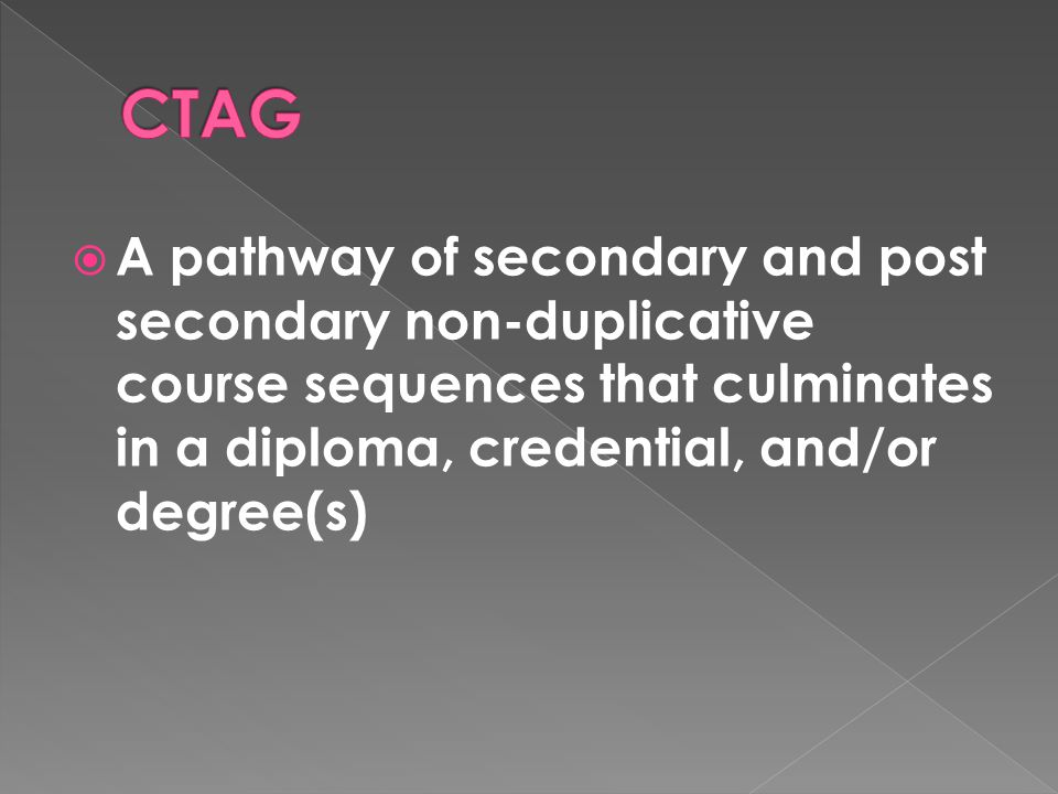  A pathway of secondary and post secondary non-duplicative course sequences that culminates in a diploma, credential, and/or degree(s)