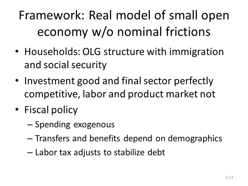 Framework: Real model of small open economy w/o nominal frictions Households: OLG structure with immigration and social security Investment good and final sector perfectly competitive, labor and product market not Fiscal policy – Spending exogenous – Transfers and benefits depend on demographics – Labor tax adjusts to stabilize debt 3/14