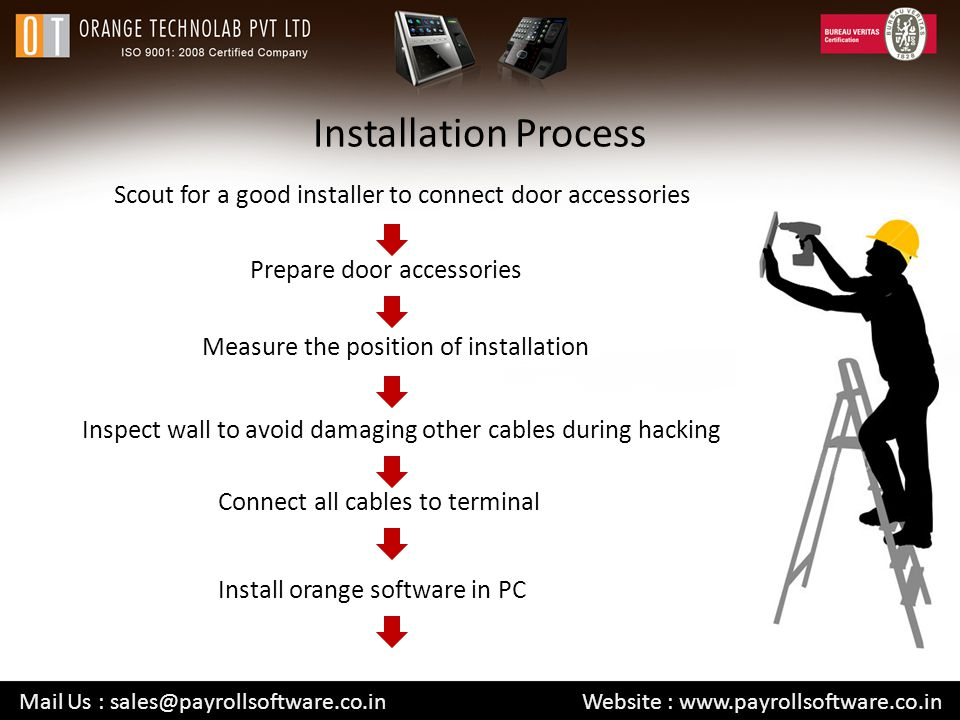 Installation Process Scout for a good installer to connect door accessories Mail Us : sales@payrollsoftware.co.in Website : www.payrollsoftware.co.in Prepare door accessories Measure the position of installation Inspect wall to avoid damaging other cables during hacking Connect all cables to terminal Install orange software in PC