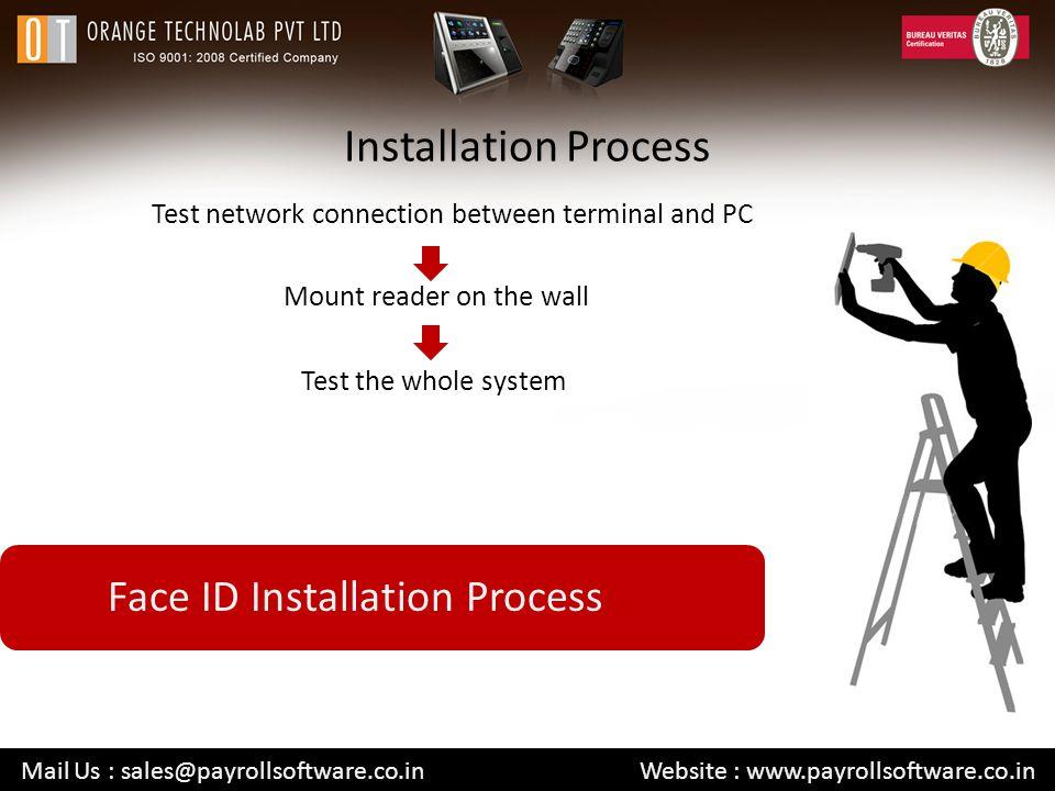 Installation Process Test network connection between terminal and PC Mail Us : sales@payrollsoftware.co.in Website : www.payrollsoftware.co.in Mount reader on the wall Test the whole system Face ID Installation Process