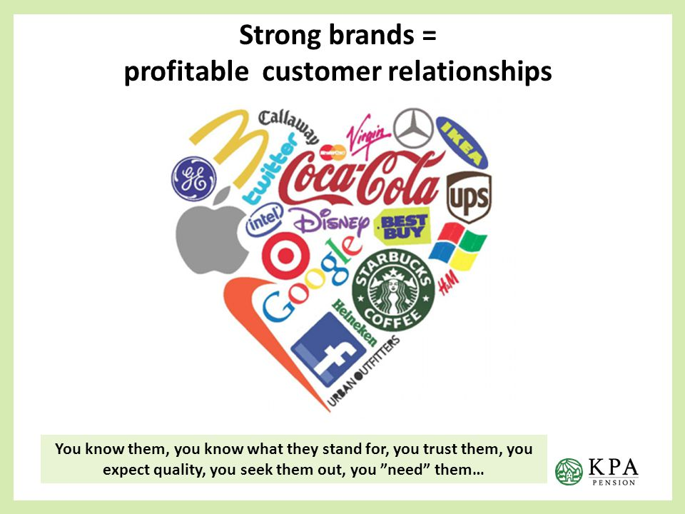 Strong brands = profitable customer relationships You know them, you know what they stand for, you trust them, you expect quality, you seek them out, you need them…