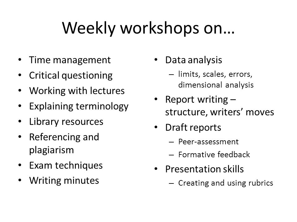 Weekly workshops on… Time management Critical questioning Working with lectures Explaining terminology Library resources Referencing and plagiarism Ex