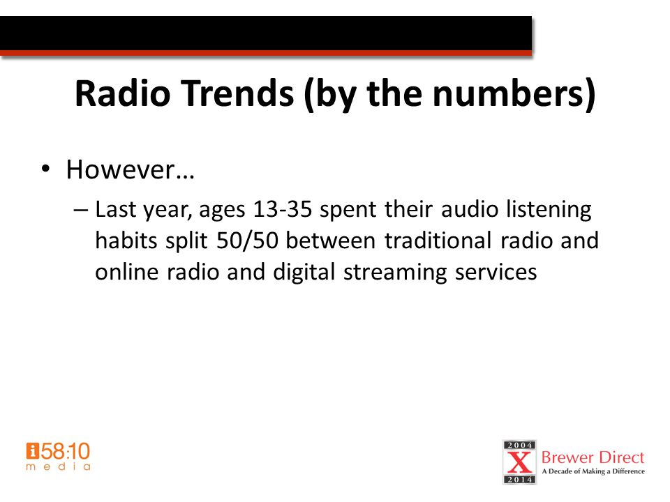 Radio Trends (by the numbers) However… – Last year, ages 13-35 spent their audio listening habits split 50/50 between traditional radio and online radio and digital streaming services