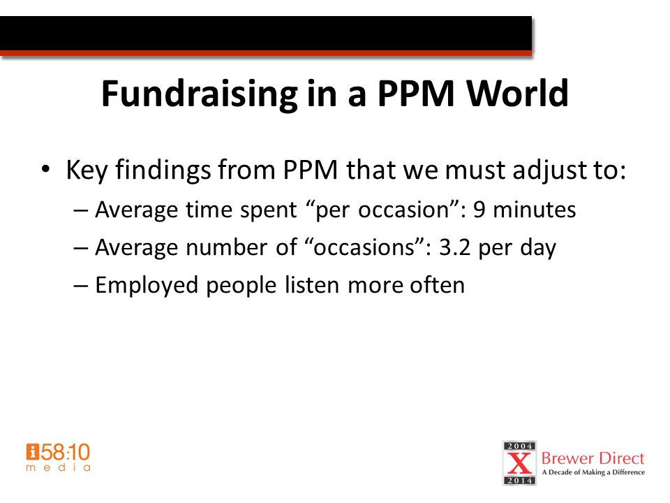 Fundraising in a PPM World Key findings from PPM that we must adjust to: – Average time spent per occasion : 9 minutes – Average number of occasions : 3.2 per day – Employed people listen more often