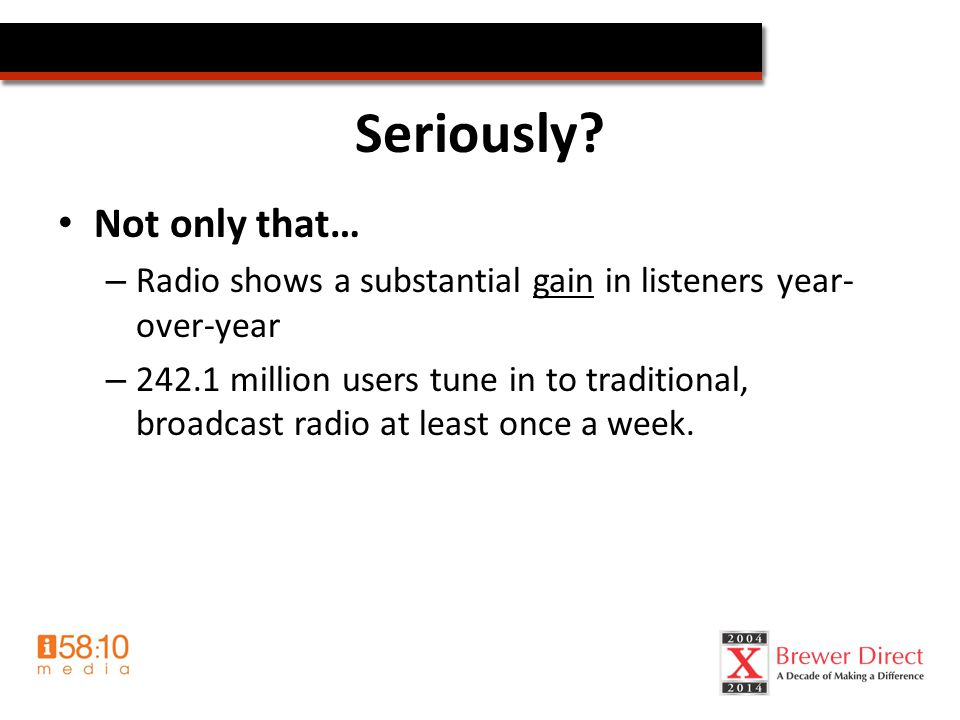 Radio & Your Ministry Benefits of using radio – Public Image/Awareness Top of mind LOCAL charity – Public Relations Here's what we do Crisis communication