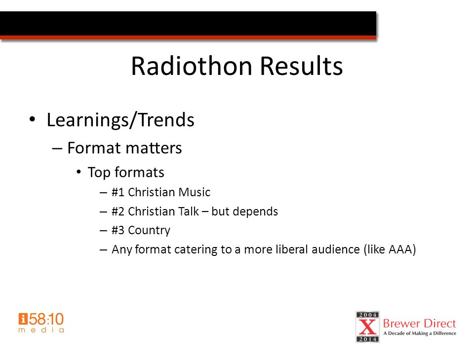 Radiothon Results Learnings/Trends – Format matters Top formats – #1 Christian Music – #2 Christian Talk – but depends – #3 Country – Any format catering to a more liberal audience (like AAA)