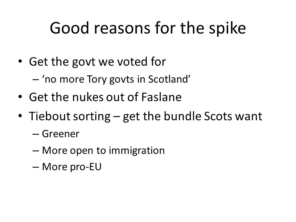 Good reasons for the spike Get the govt we voted for – 'no more Tory govts in Scotland' Get the nukes out of Faslane Tiebout sorting – get the bundle Scots want – Greener – More open to immigration – More pro-EU